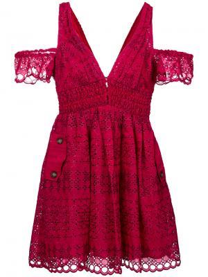 Платье с английской вышивкой Self-Portrait. Цвет: красный
