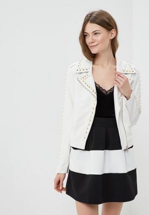Куртка кожаная Rinascimento. Цвет: белый