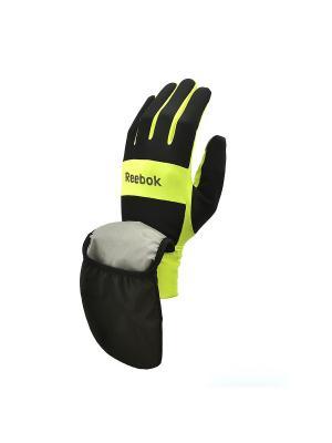 Всепогодные перчатки для бега Reebok размер L. Цвет: черный, желтый