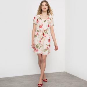 Платье с цветочным принтом и короткими рукавами MOLLY BRACKEN. Цвет: экрю/рисунок