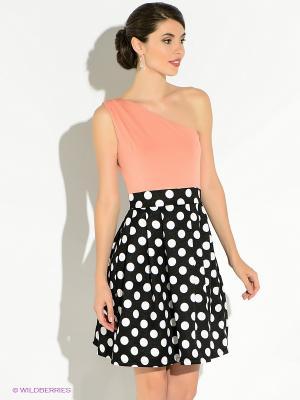 Платье TuttoBene. Цвет: персиковый, белый, черный