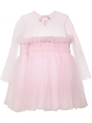 Полупрозрачное платье Molly Goddard. Цвет: розовый и фиолетовый
