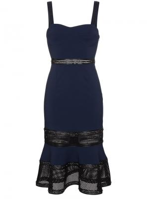 Платье на лямках с кожаными деталями заклепками Jonathan Simkhai. Цвет: синий