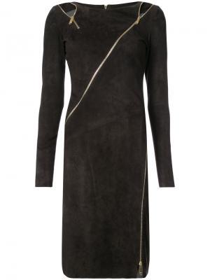 Платье на молнии Jitrois. Цвет: коричневый