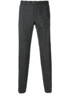 Классические брюки с мелким узором Incotex. Цвет: серый