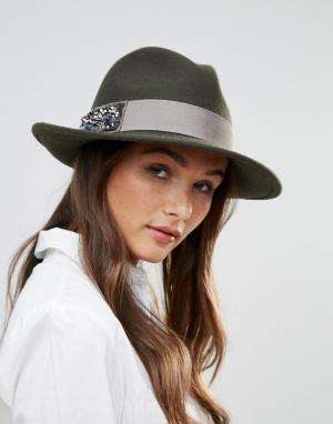 Vixen Фетровая шляпа со стразами. Цвет: зеленый