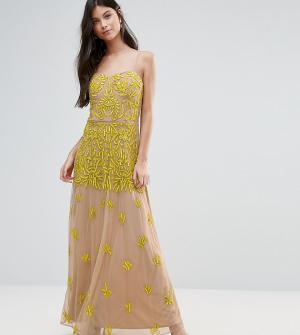 Maya Petite Платье макси с топом-корсетом и отделкой. Цвет: желтый