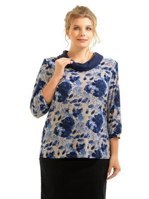 Блузка Maria. Цвет: синий, темно-бежевый