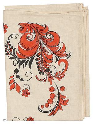 Полотенце льняное Хохлома красный GrandStyle. Цвет: красный, серый