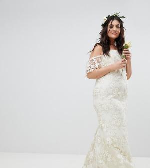 ASOS Curve Кружевное платье бандо EDITION Wedding. Цвет: белый