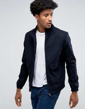 Bellfield Куртка Харрингтон из смесовой шерсти. Цвет: темно-синий