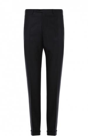 Классические шерстяные брюки в клетку Brioni. Цвет: темно-синий