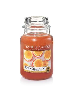 Свеча большая в стеклянной банке Медовый клементин Honey Clementine 623 гр / 110-150 часов YANKEE CANDLE. Цвет: оранжевый