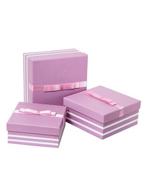 Коробка картонная, набор из 3-х квадратных. 15.5х15.5х6.5, 17х17х8, 19.5х19.5х9.5 см. VELD-CO. Цвет: розовый