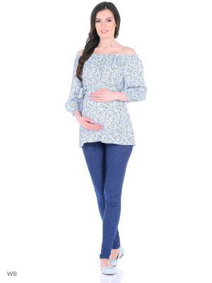 Блузка для беременных и кормления 40 недель. Цвет: синий, светло-голубой