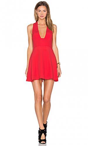 Приталенное и расклешенное платье just you NBD. Цвет: красный