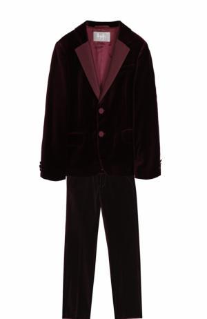 Бархатный костюм с пиджаком на двух пуговицах Il Gufo. Цвет: бордовый