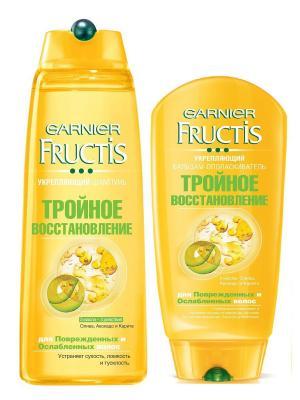 Шампунь+Бальзам Fructis, Тройное восстановление для поврежденных и ослабленных волос, 400+200 мл Garnier. Цвет: белый