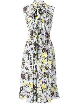 Платье с цветочным принтом Erdem. Цвет: синий