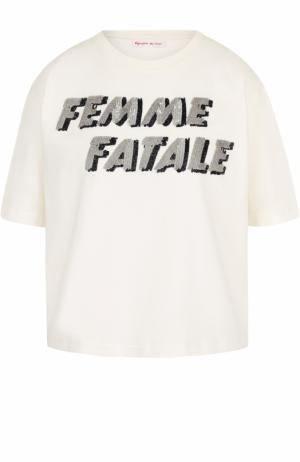 Укороченная хлопковая футболка с пайетками Olympia Le-Tan. Цвет: молочный