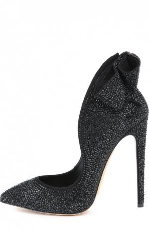 Замшевые туфли Manu с кристаллами Swarovski Aleksandersiradekian. Цвет: черный