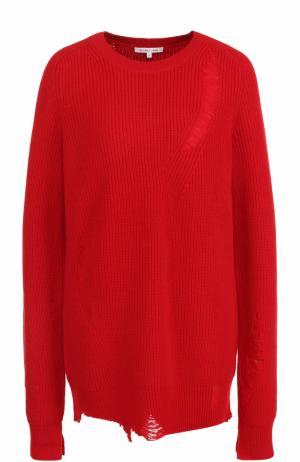 Пуловер из смеси шерсти и кашемира с круглым вырезом Helmut Lang. Цвет: красный