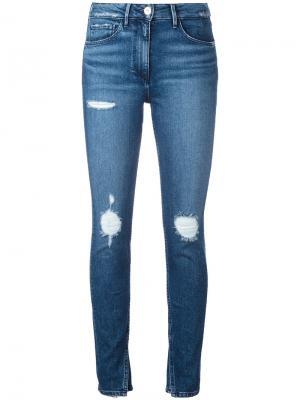 Укороченные джинсы с разрезами на щиколотках 3X1. Цвет: синий