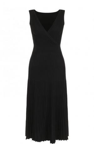 Платье из смеси шелка и хлопка с плиссированной юбкой Loro Piana. Цвет: темно-серый