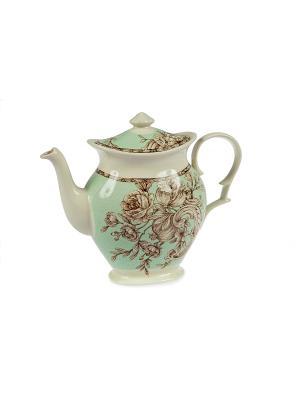 Чайник Очарование Elff Ceramics. Цвет: зеленый, красный, белый