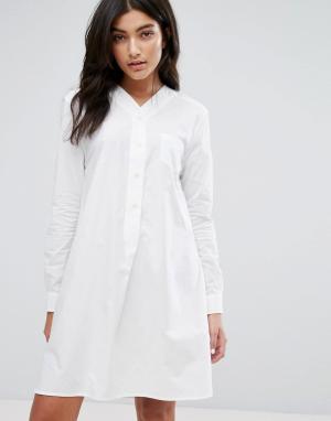 YMC Бейсбольное платье-рубашка. Цвет: белый