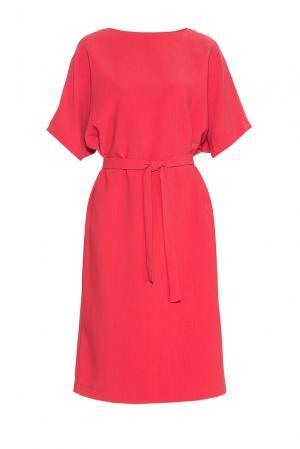 Платье из искусственного шелка и вискозы с поясом 184156 Cyrille Gassiline. Цвет: красный
