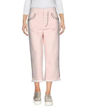 Джинсовые брюки-капри LANEUS. Цвет: светло-розовый