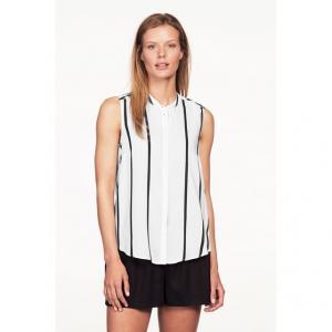 Рубашка без рукавов ELLOS. Цвет: в полоску белый/ черный