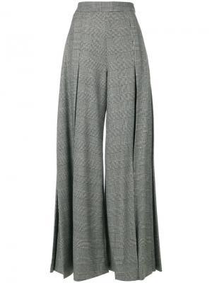 Расклешенные классические брюки в клетку Sara Battaglia. Цвет: чёрный