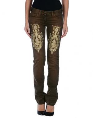 Джинсовые брюки LUPATTELLI. Цвет: темно-коричневый