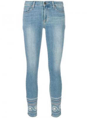 Облегающие джинсы с вышивкой Marin Paige. Цвет: синий