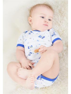 Полукомбинезон Веселый малыш. Цвет: синий, голубой, белый