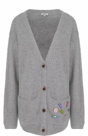 Кашемировый кардиган свободного кроя с карманами Natasha Zinko. Цвет: серый