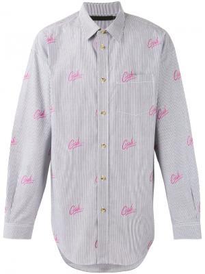 Рубашка в полоску с принтом Alexander Wang. Цвет: синий
