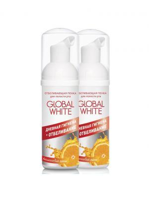 Набор Пенок отбеливающих для полости рта - Апельсиновый фреш, 2 шт. по 50 мл Global White. Цвет: серебристый, белый, оранжевый
