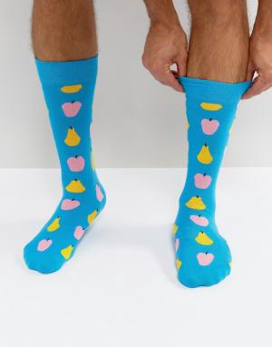 Happy Socks Носки с принтом фруктов. Цвет: синий