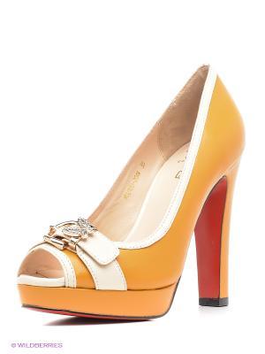 Туфли Moda Donna. Цвет: желтый, коричневый