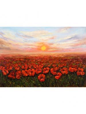 Картина красные цветы у воды Ecoramka. Цвет: светло-коричневый, светло-желтый, светло-оранжевый