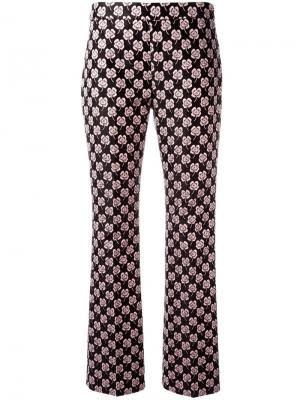 Жаккардовые брюки с цветочным принтом Giamba. Цвет: розовый и фиолетовый