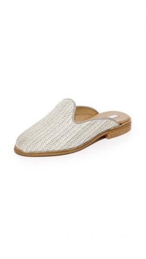 Туфли-слипперы без задников из рафии blank canvas. Цвет: голубой