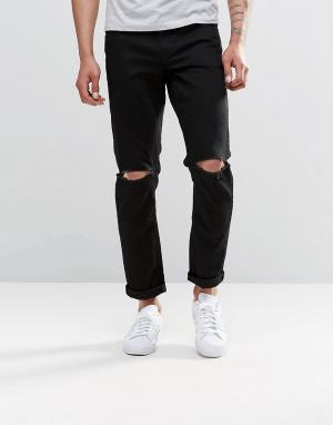 ASOS Черные узкие джинсы стретч с рваными коленками. Цвет: черный