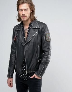 Goosecraft Шипованная байкерская куртка с накладками. Цвет: черный