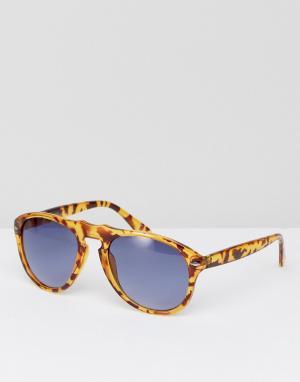 Jeepers Peepers Солнцезащитные очки-авиаторы. Цвет: коричневый