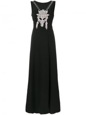 Платье макси с отделкой стразами Marco Bologna. Цвет: чёрный