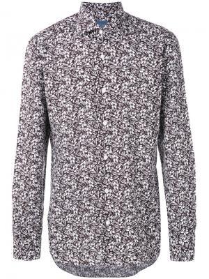 Рубашка с цветочным принтом Barba. Цвет: коричневый